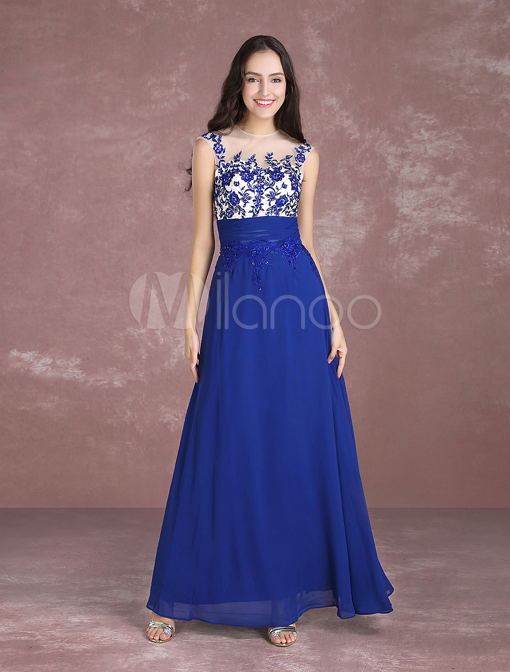 Buy Blue Prom Dresses 2018 Long Lace Beading Illusion Occasion Dress Keyhole Sleeveless Floor Length Party Dress for $84.99 in Milanoo store