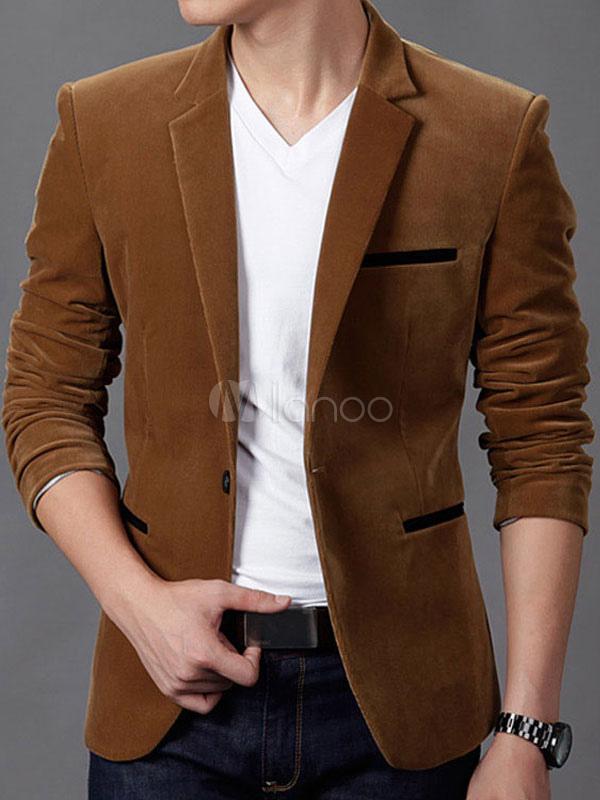 42a40a852e11d Blazer para Hombre 2019 Dos Colores Traje Chaqueta Botón Pana Marrón Casual  Blazer-No.