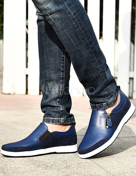 Buy Black Men Shoes 2018 Cowhide Elevator Shoes Slip On Casual Shoes for $33.59 in Milanoo store