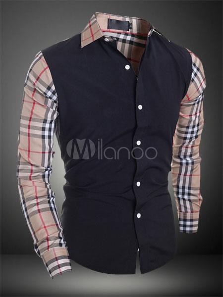 Black Plaid Cotton Casual Shirt For Men