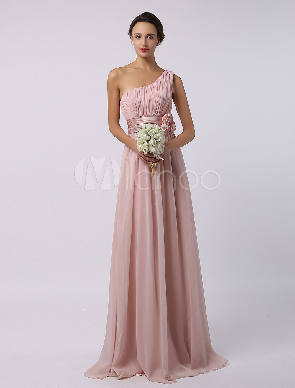 Peach Bridesmaid Dress Long Chiffon Floor Length One Shoulder A Line Waist Flower Wedding Party Dresses
