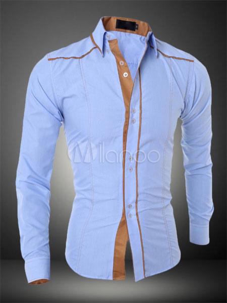 Camisa Casual Hombre Camisa de Manga Larga Top Algodón Dos Tonos-No.1 ... cf86f27a32963