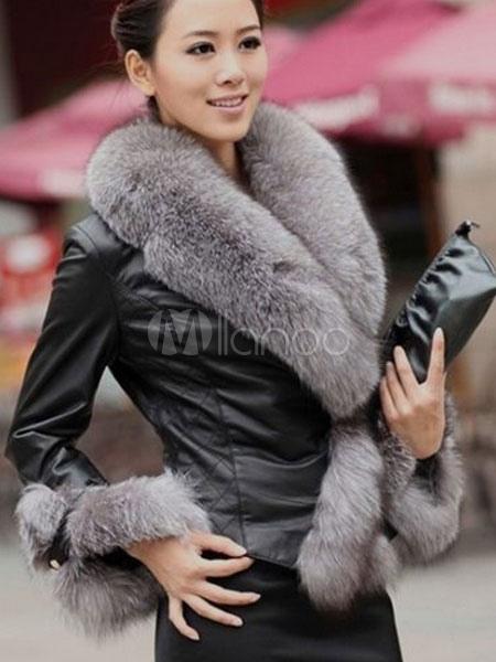 Faux Fur PU Leather Jacket For Women Long Sleeve Luxury Winter Coat