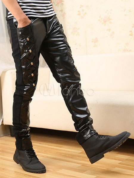 Rivet Skinny PU Leather Pants