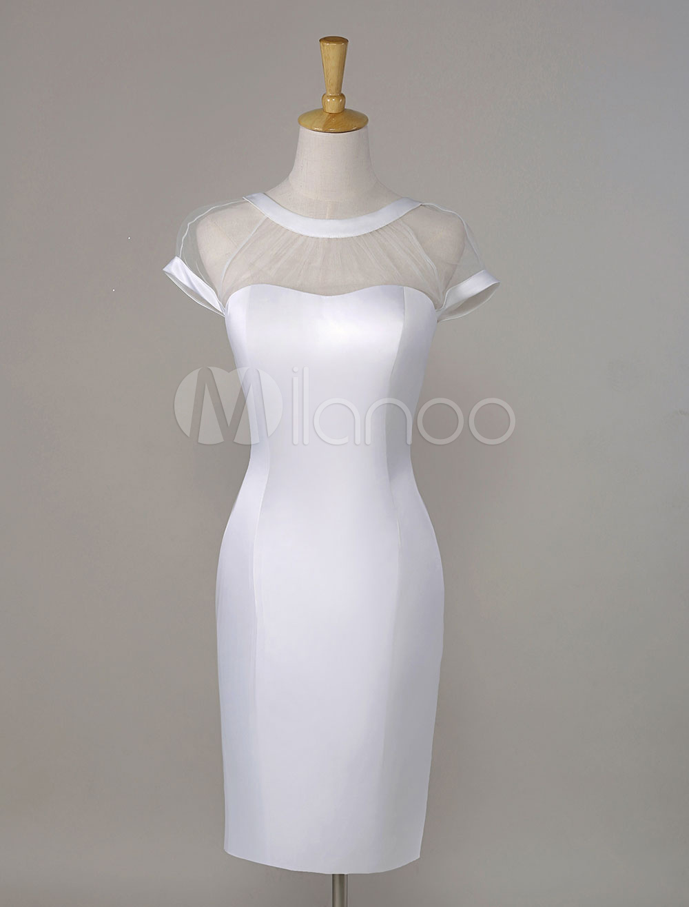 Milanoo / Short Sleeves Illusion V-Back Satin Cocktail Dress