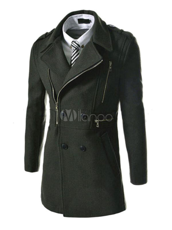 Men Pea Coat 2018 Zipper Double Breasted Long Coat Notch Collar Winter Outwear