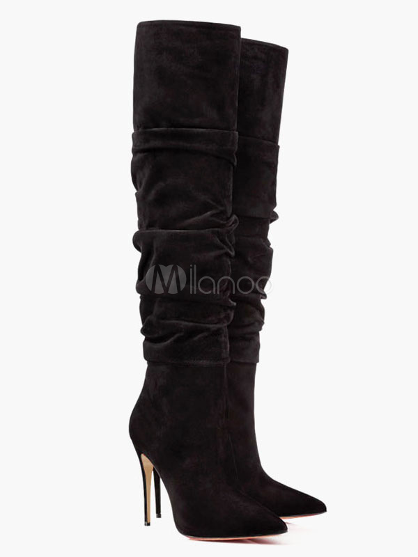 Thigh High Boots Black Pointed Toe Over Knee High Heel Boots