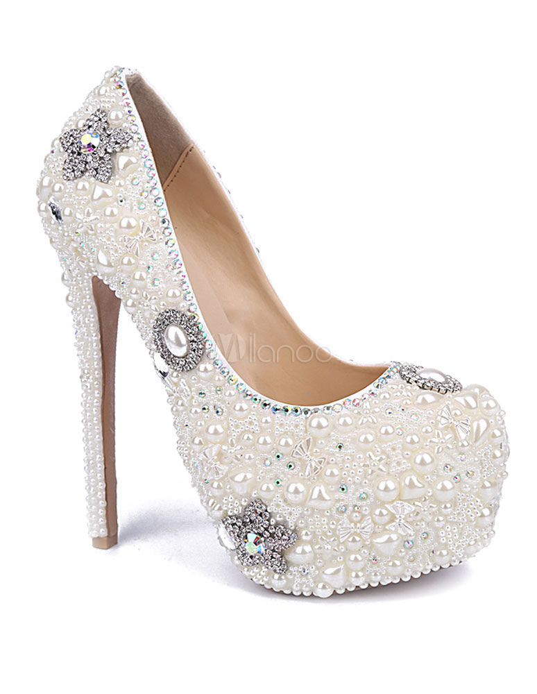 ... Blanc perles plates-formes pompes en cuir chaussures de soirée et de  mariée-No ...