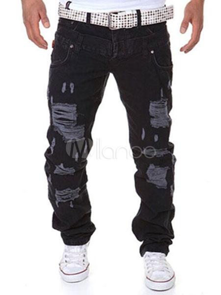 Black Distressed Cotton Pants for Men