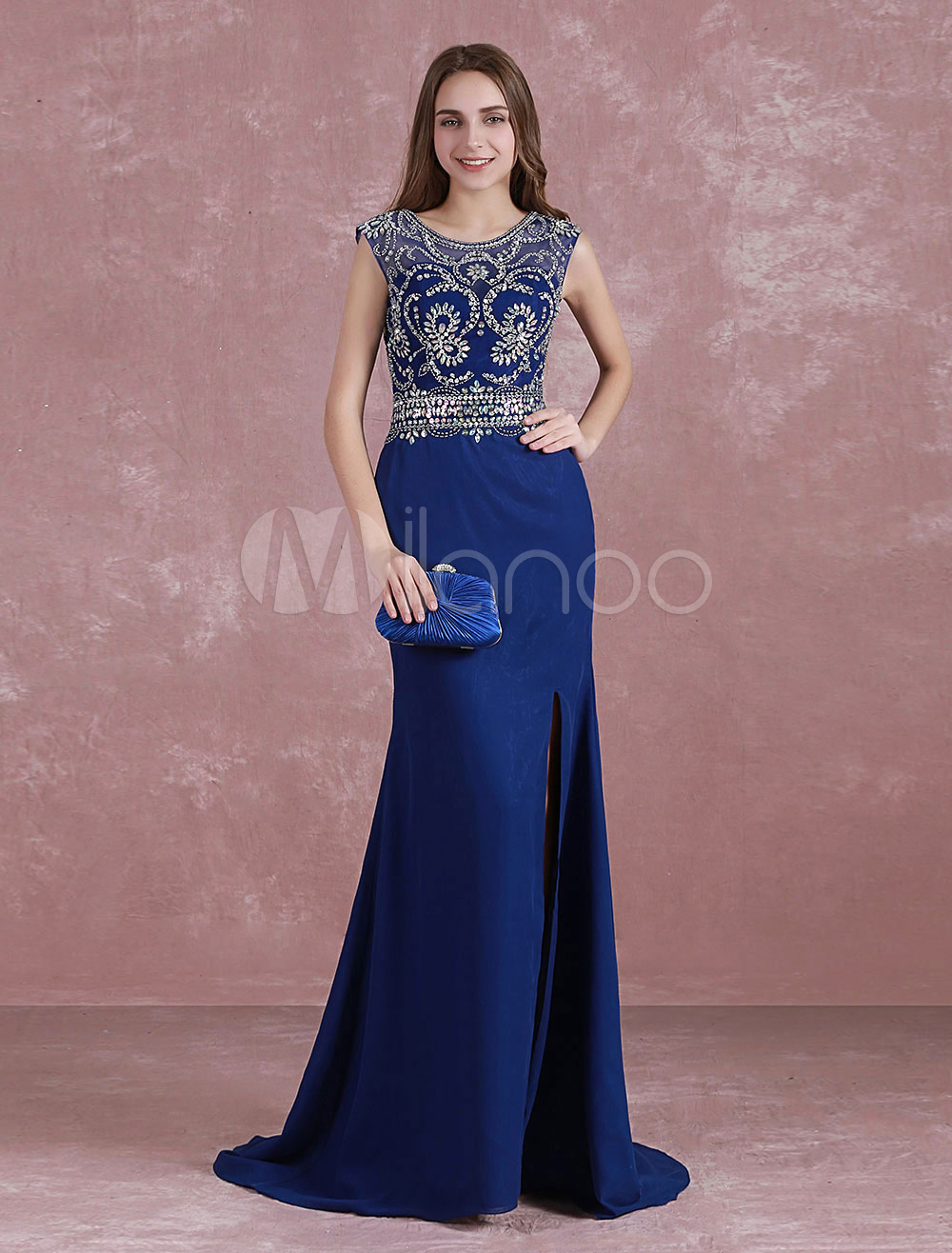 Buy Royal Blue Prom Dress Mermaid Split Graduation Dress Beading Illusion Back Sweep Train Chiffon Party Dress for $152.99 in Milanoo store