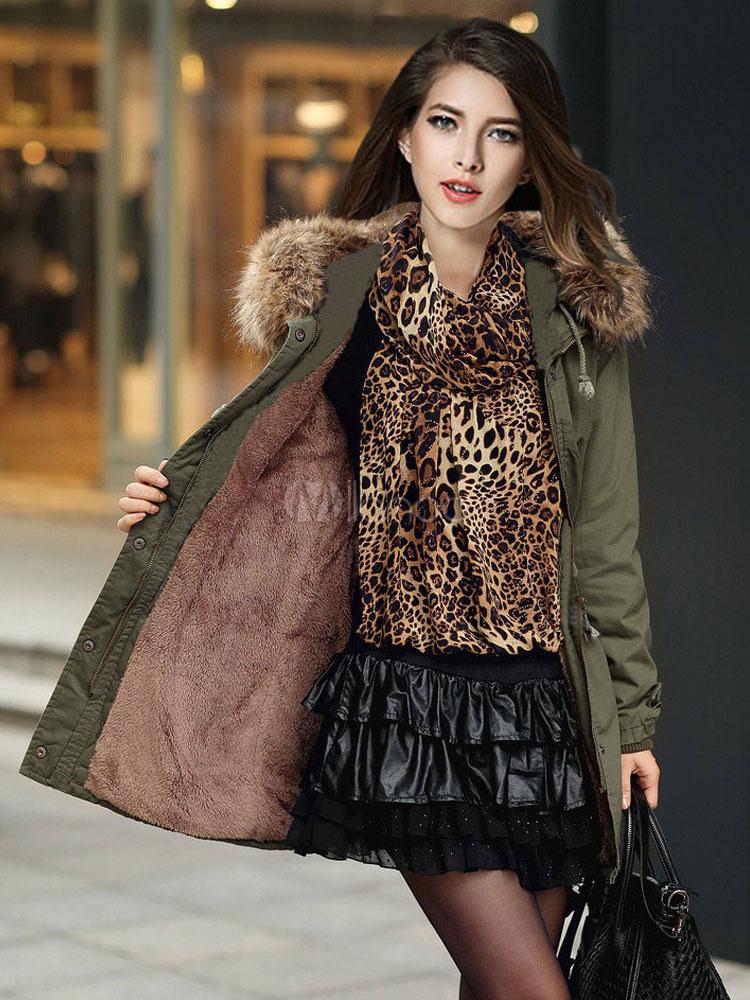 Buy Women Parka Coat Faux Fur Collar Hunter Green Hooded Long Sleeve Drawstring Winter Coat for $70.99 in Milanoo store
