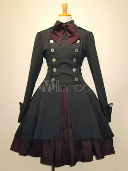 Buy Gothic Lolita Dress OP Black Cotton Double Breasted Button Long Sleeve Bow Ruffled Lolita One Piece Dress for $74.69 in Milanoo store