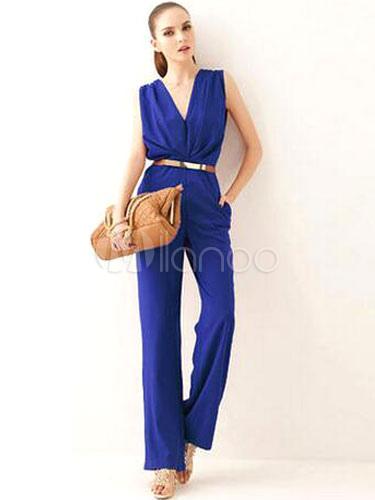 Buy Purple Jumpsuit Wide Leg Deep-V Cotton Jumpsuit for Women for $16.79 in Milanoo store