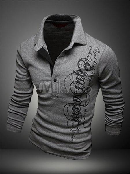Cotton Men T Shirt Print Polo Shirt Casual Short Sleeve T Shirt