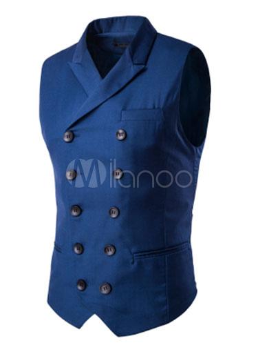 Men Black Waistcoat Cotton Double Breasted Button Sleeveless Turndown Collar Gilet