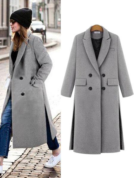 Grand manteau gris femme