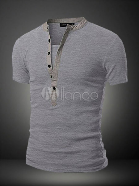 Men T Shirt Cotton Button Up Undershirt Short Sleeve T Shirt Casual