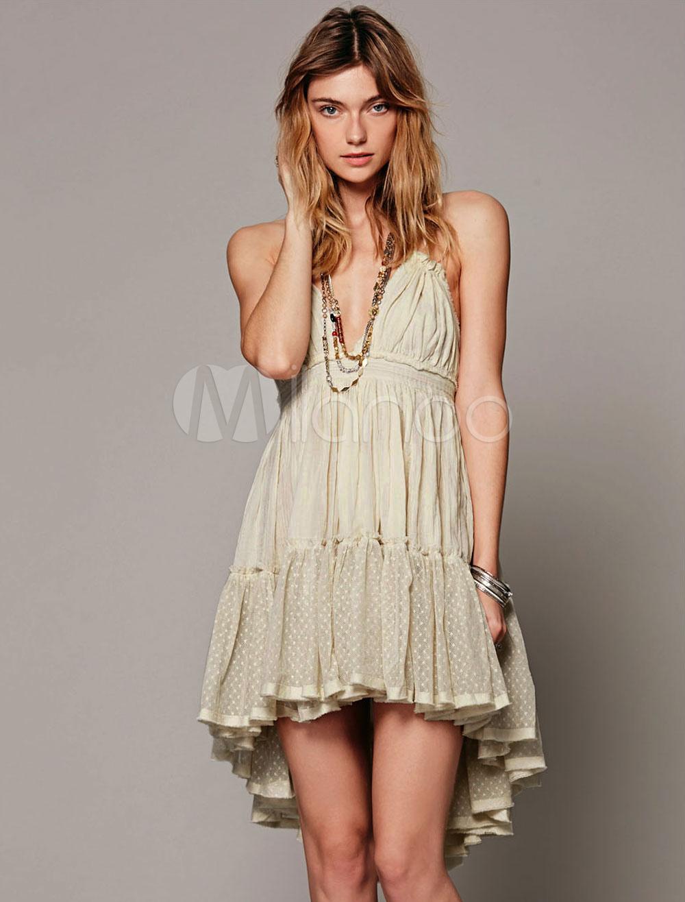 Pink Short Dress Halter V Neck Sleeveless Backless Pleated Summer Dress For Women