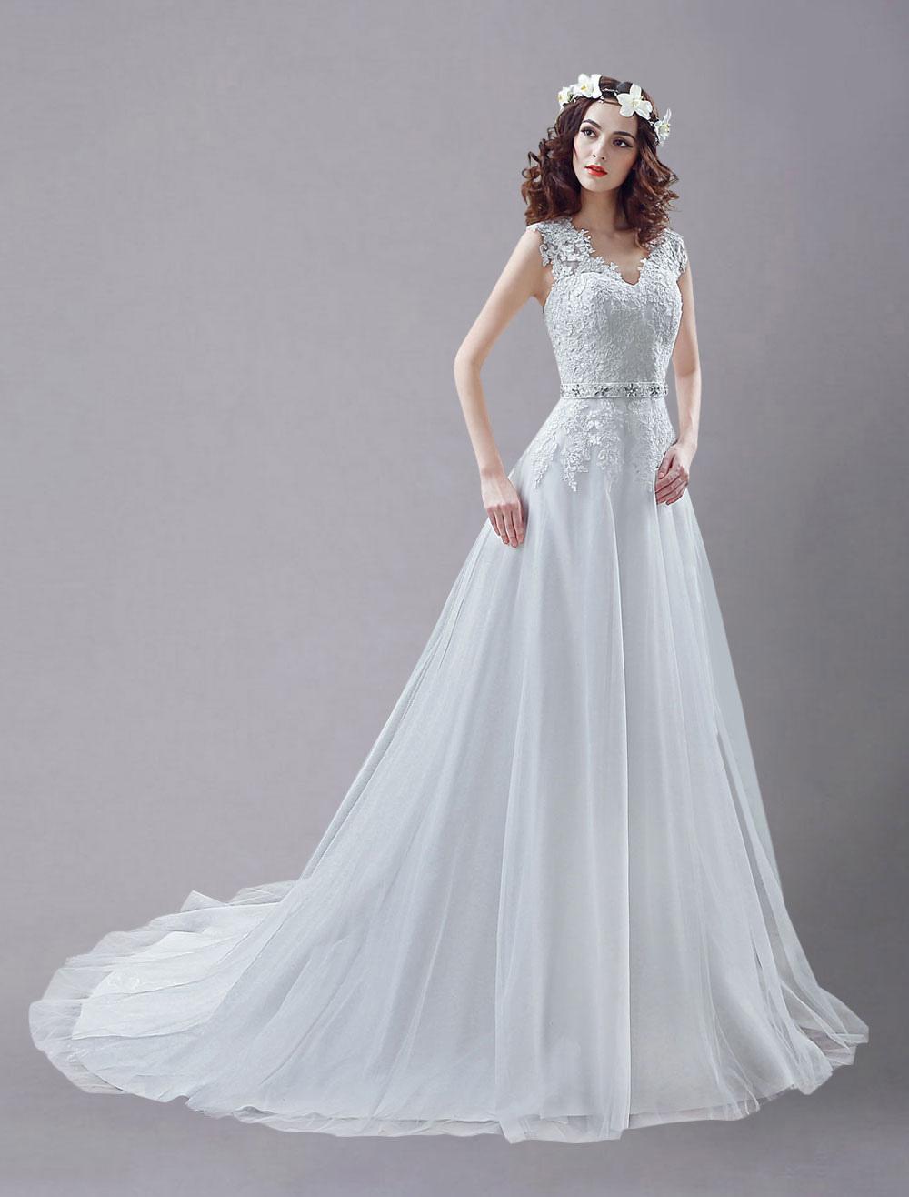 Blanco vestido de novia de tul con cuello en V y bordado - Milanoo.com