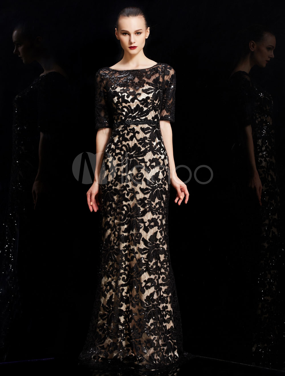 Shining Sequin Embroidery Sheer Illusion Half Sleeves Evening Dress in Burgundy and Black