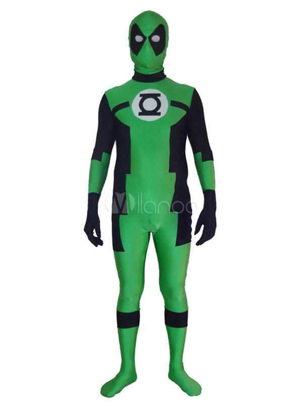 Halloween Green Deadpool Zentai Suit Marvel Lycra Spandex Super Man Costume Cosplay Halloween