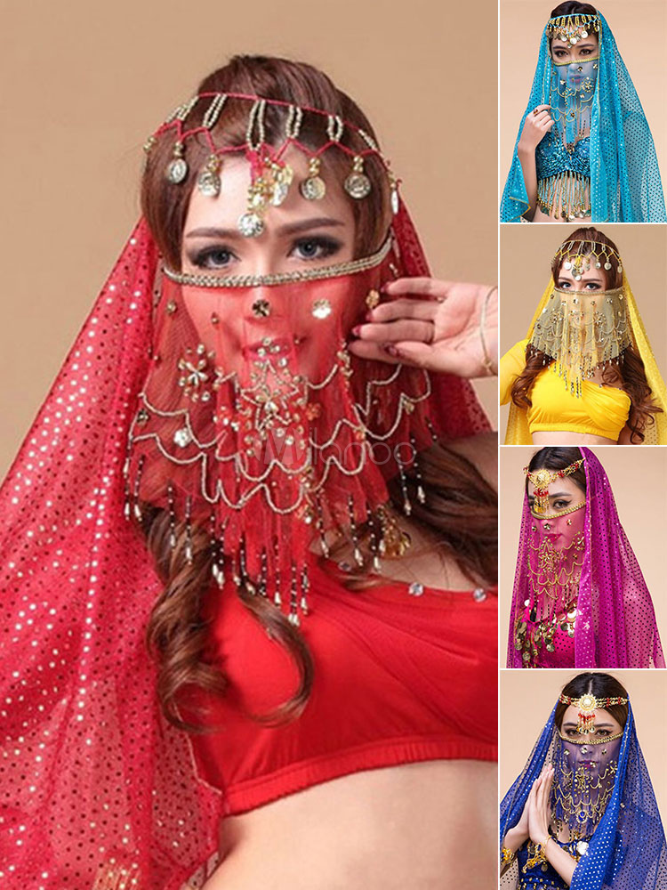 Belly Dance Costume Face Veil Flowes Tassels Women's Belly Dancing Costume Accessories