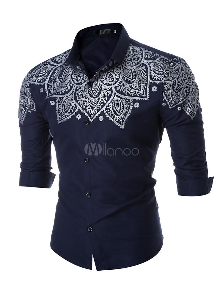 Burgundy Cotton Shirt Turndown Collar Long Sleeve Printed Cotton Shirt