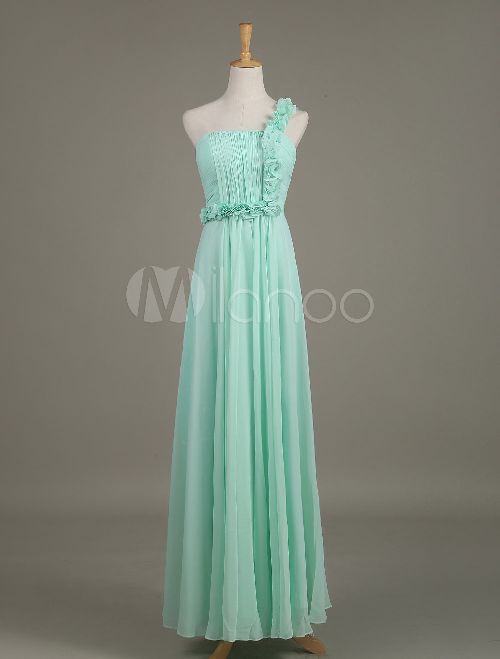 Mint Bridesmaid Dress Chiffon Flower One Shoulder Draped A Line Long Wedding Party Dress