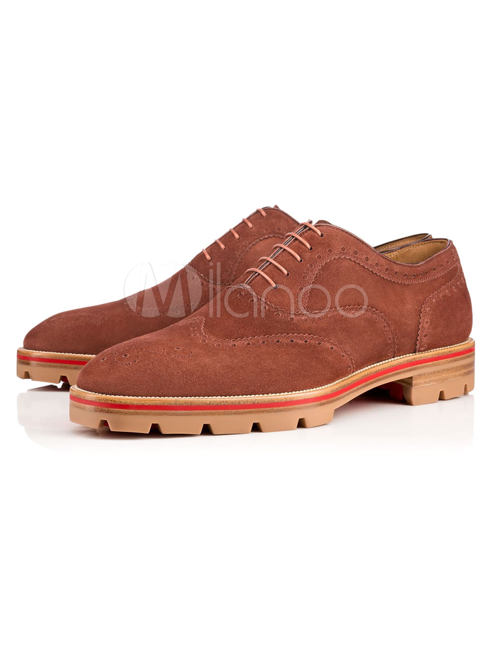 Suede Brogue Shoes Men Mahogany Squared Toe Lace Up Oxford Shoes Dress Shoes