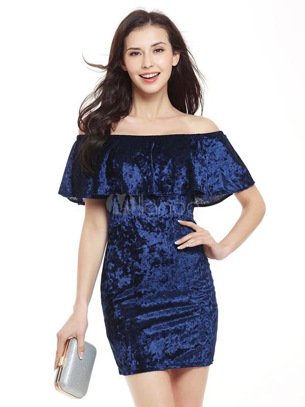 2ef6b00422f ... Grey Bodycon Dress Velvet Ruffle Off The Shoulder Short Sleeve Slim Fit Sheath  Dress-No ...