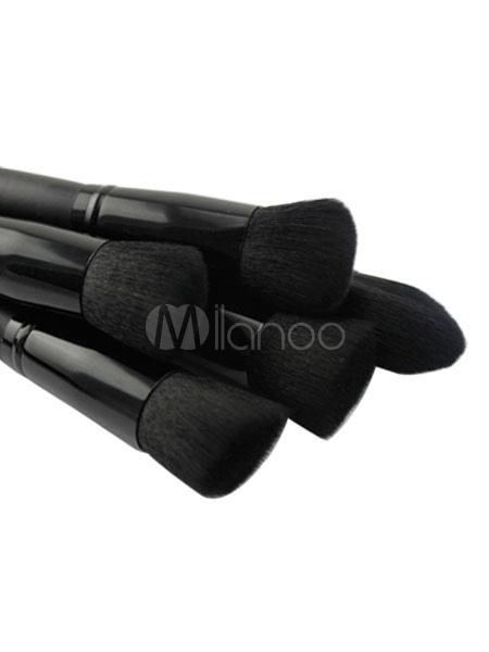 Milanoo / Black Brush Set 10 Pieces Wood Synthetic Fibers Professional Makeup Brushes