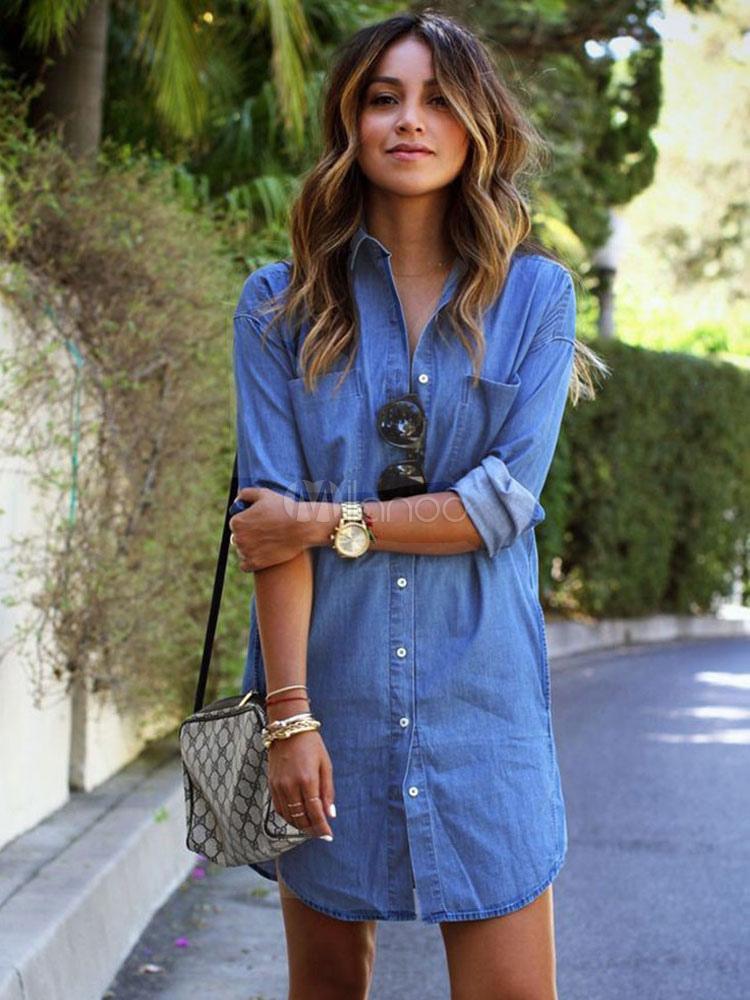 Women's Denim Shirt Spread Collar Long Sleeve U Hem Shirt With Buttons And Pockets
