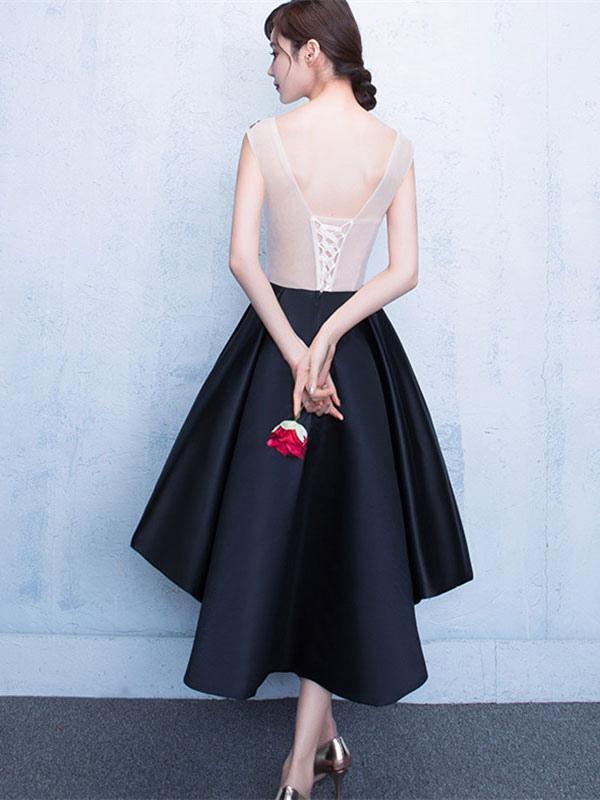 e9b53b626 ... Vestido de fiesta 2019 Traje de Baile negro con escote ovalado De banda  de encaje de ...