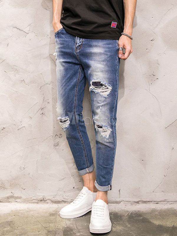Buy Men's Ripped Jeans Blue Washed Distressed Denim Cropped Pencil Pants for $39.59 in Milanoo store