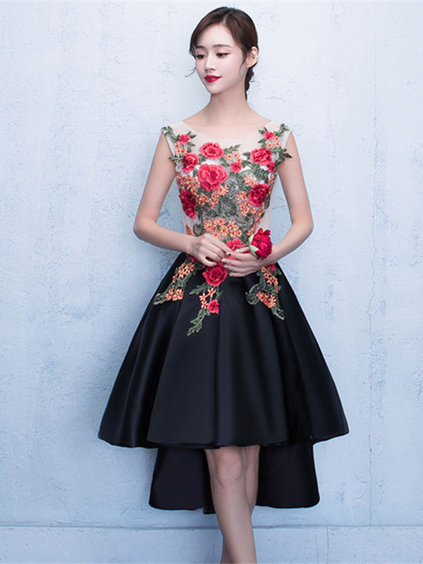 Black Prom Dresses 2018 Short Floral Print Homecoming Dress High Low ...