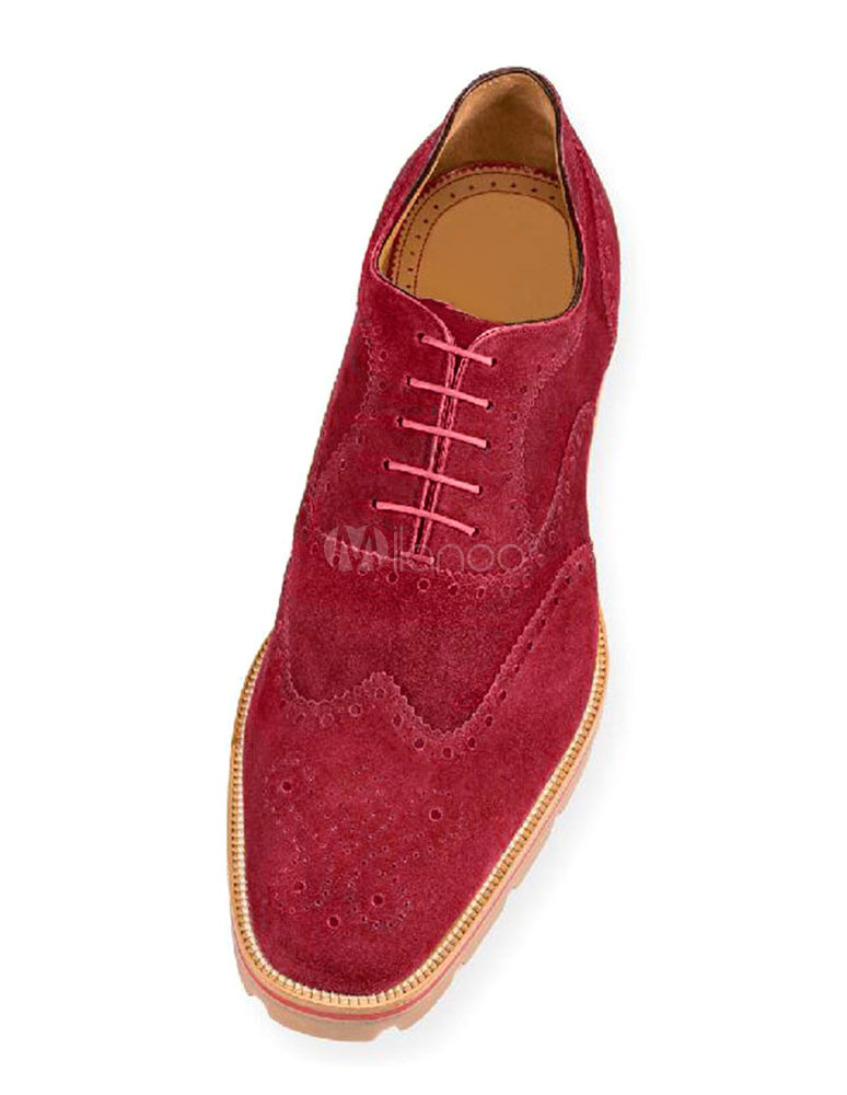 15c53086ce3 Suede Brogue Shoes Men Mahogany Squared Toe Lace Up Oxford Shoes Dress Shoes -No.