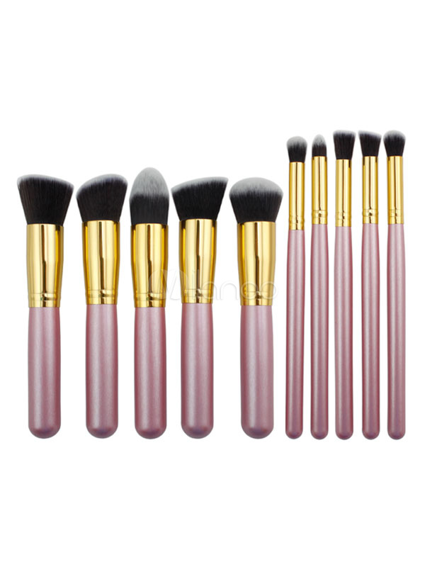 Buy Pink Brush Set 10 Pieces Two Tone Wood Synthetic Fibers Professional Makeup Brushes for $8.09 in Milanoo store