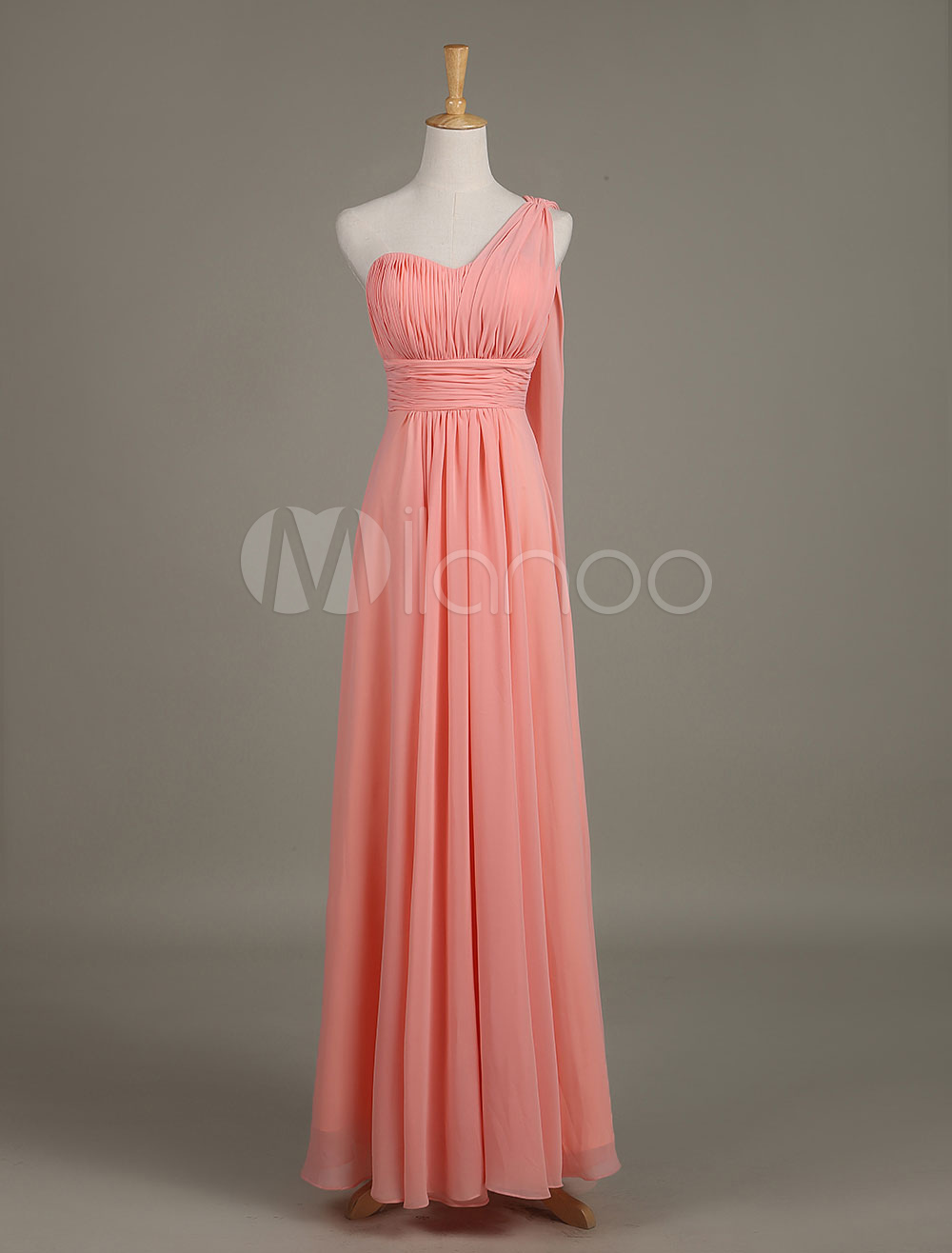 Chiffon Bridesmaid Dress Salmon Sweetheart One Shoulder Ruched A Line Maxi Wedding Party Dress With Side Draping
