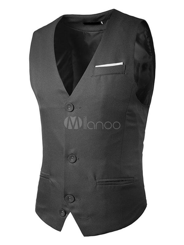 Men Jacket Vest Dark Navy Single Breasted 3 Button Shaping Waistcoat