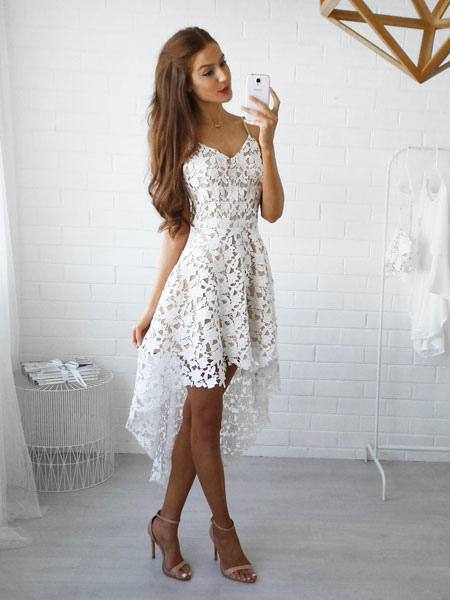 White Lace Dress Spaghetti Straps High Low Semi Sheer ...