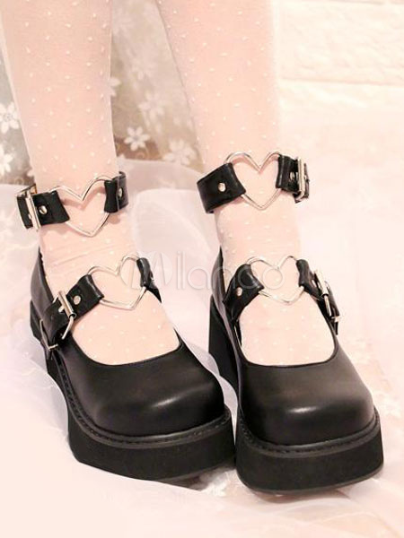 Buy Sweet Lolita Shoes Black Flatform Heart Shaped Buckle Lolita Pumps for $52.19 in Milanoo store