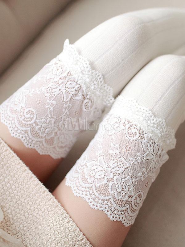 Sweet Lolita Stockings Lace Trim Jacquard Vertical Stripes Lolita Thigh Highs