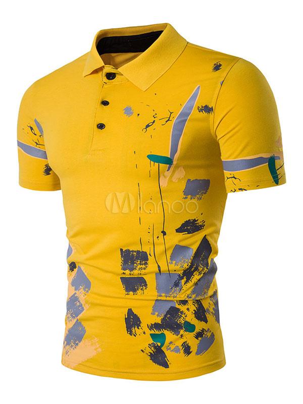 b8c5fc5df05b ... Maglietta polo casual cotone misto maniche corte con stampe uomo con  colletto -No.4 ...