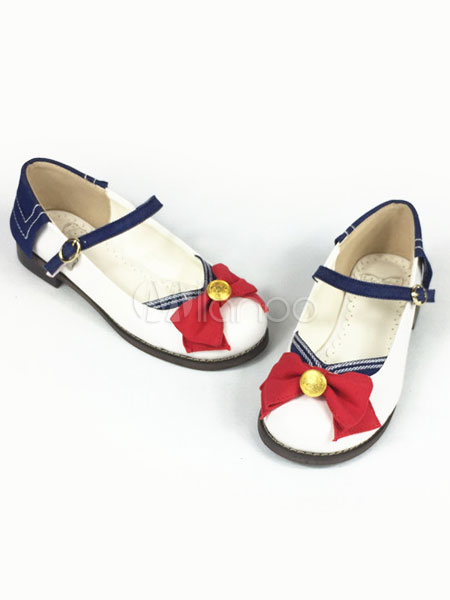 Buy Sweet Lolita Shoes Sailor Moon Bow Round Toe Lolita Pumps for $60.29 in Milanoo store