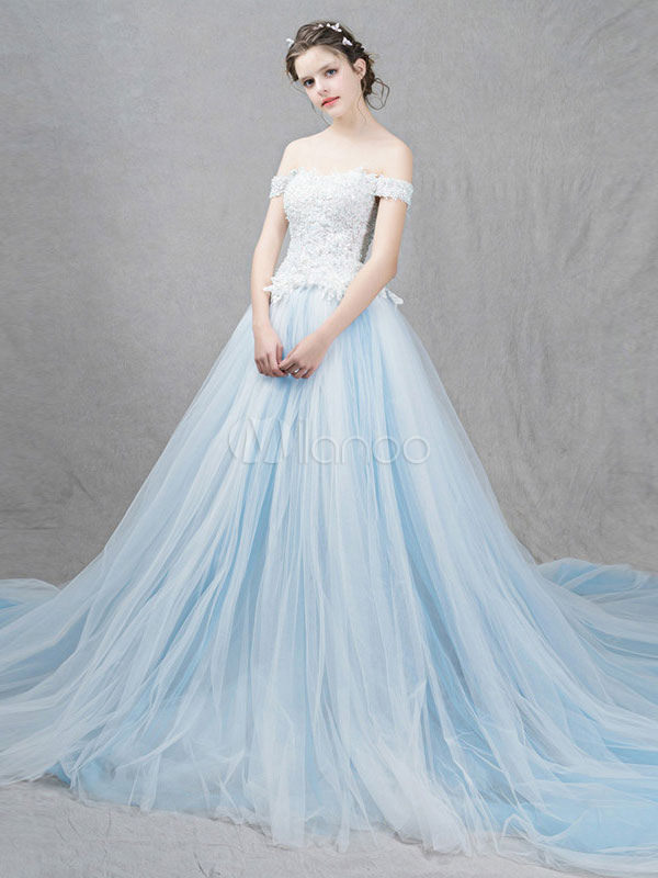 Tulle Wedding Dress Pastel Blue Off The Shoulder Bridal Dress Lace