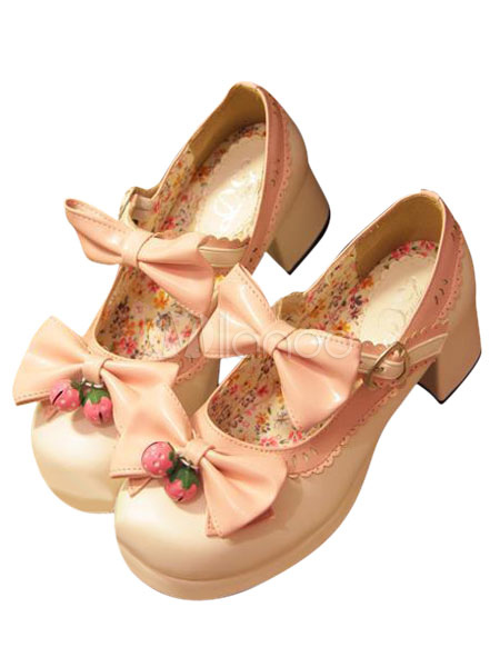 4 Pu Rotondo Lolita Zeppa 5cm Rosa Tacco Largo Bianche Da Scarpe 7IqwB8xzB 951ae0af402