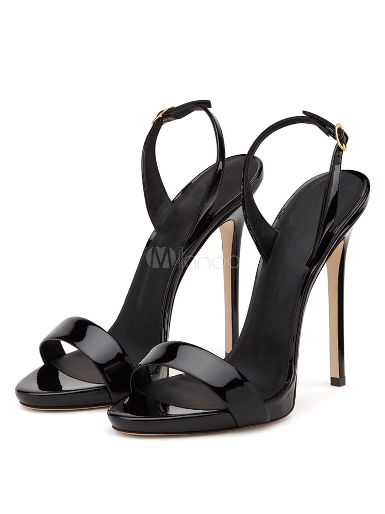 Buy High Heel Sandals Plus Size Black Open Toe Two Part Slingbacks Stiletto Sandal Shoes for $49.49 in Milanoo store