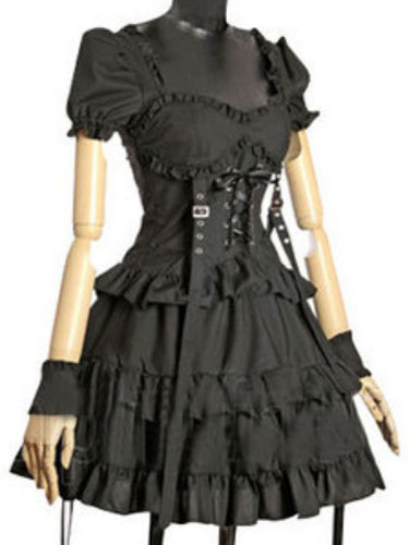 Buy Black Lolita Dress OP Gothic Short Sleeve Sweetheart Cotton Lolita One Piece Dress for $64.79 in Milanoo store