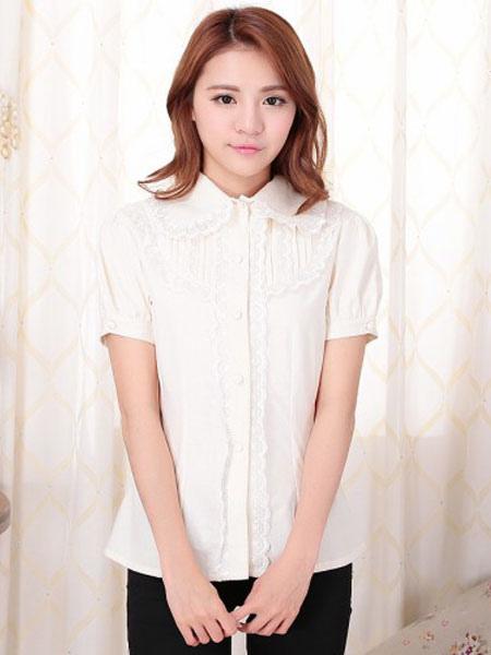 Sweet Lolita Blouses White Short Sleeve Lace Ruffles Lolita Shirts