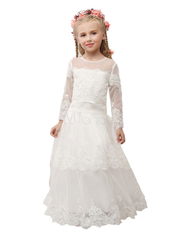 Ivory Flower Girl Dress Boho Lace Junior Bridesmaid Dress Applique Illusion Neckline Long Sleeve A Line Toddler's Pageant Dress With Train